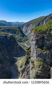 View of the Bjoreio river valley. Vertical frame. National park Hardangervidda, EidFjord, Norway.