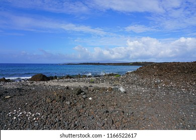 View of black lava rock and blue ocean at the Ahihi-Kinau Natural Area Reserve, on the West shore of Maui south of Wailea and Makena, Hawaii