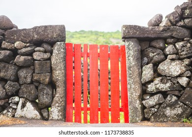 view of a black lava stone wall with a red gate and a vineyard in the background