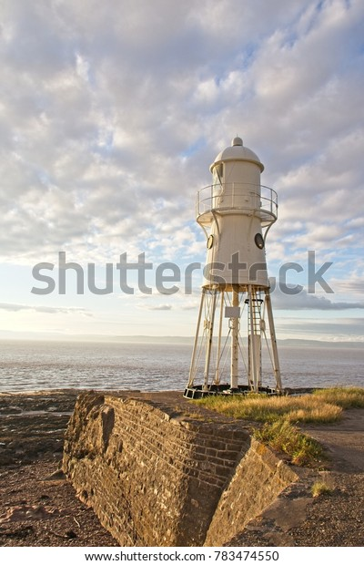 A view of Black Nore Lighthouse in the evening light overlooking the Severn Estuary.  Portishead. 16th July, 2017. 8.30pm.