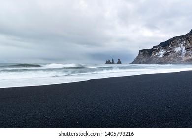 View of the Black Sand Beach from Vik town near Reynisfjara coast