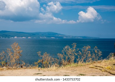 View of the Black Sea in the town of Nessebar in Bulgaria