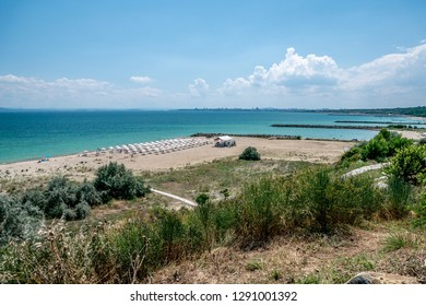 View of the Black Sea in the town of Sarafovo Burgas in Bulgaria