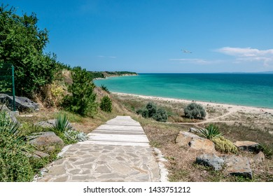 View of the Black Sea in the town of Sunny Beach in Bulgaria