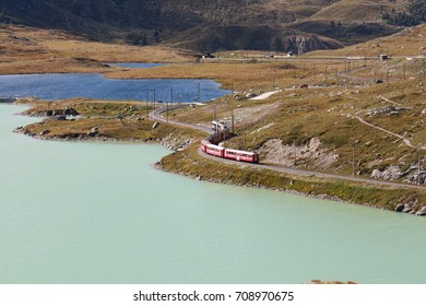 View of the black and white lake on Bernina Mountains in the Alps ( Switzerland )