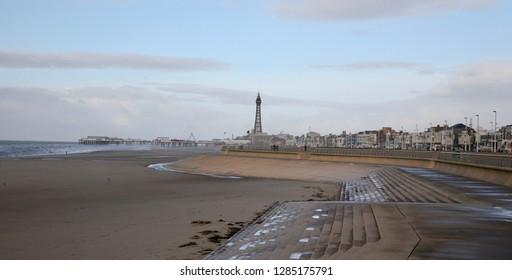 A view of Blackpool Tower from the promenade, Blackpool, Lancashire, England, Europe on Monday, 14th. January, 2019