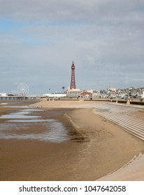 A view of Blackpool Tower from the south pier, Blackpool, Lancashire, England, Europe on Tuesday, 13th, March, 2018