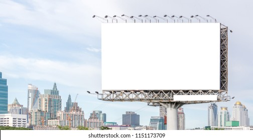 View of blank billboard ready for new advertisement outstanding from city view background