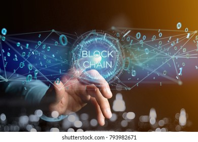 View of a Blockchain title with 0 and 1 data flying over