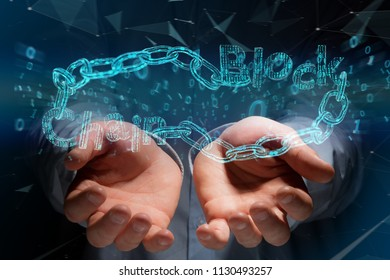 View of a Blockchain title with a cahin made of data number - 3d render
