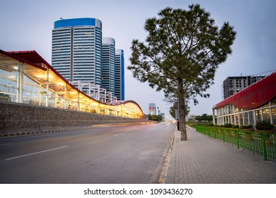 View of Blue Area, the commercial hub of the city and metro station in Islamabad Pakistan