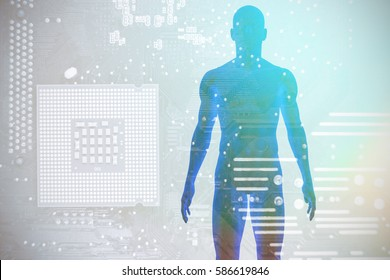 View of a blue character against micro parts in computer chip