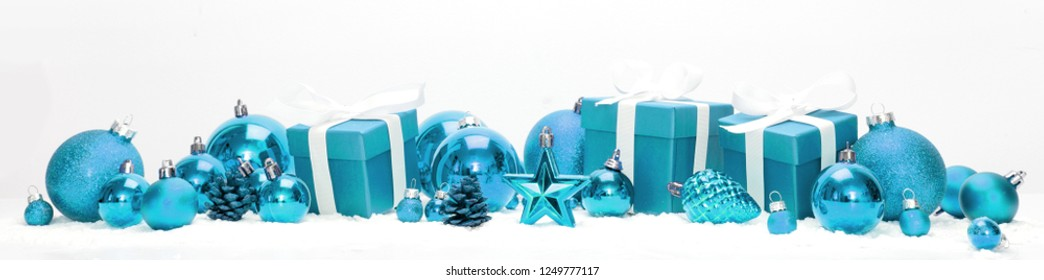 View of Blue christmas holidays decoration on a white background