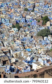 View of the Blue City of Jodhpur (with blue painted houses) from Mehrangarh fort in Jodhpur, Rajasthan, India