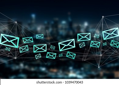 View of a Blue Email symbol displayed on a city background - 3D rendering