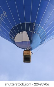 view to a blue flying balloon