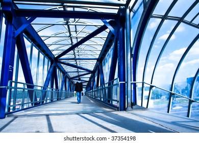 View to blue glass empty corridor