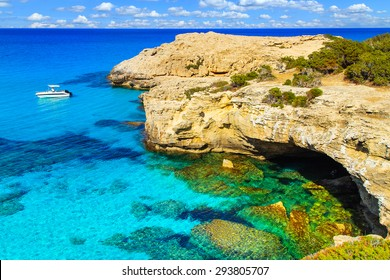 A view of a Blue Lagoon near Polis city, Akamas Peninsula National Park, Cyprus