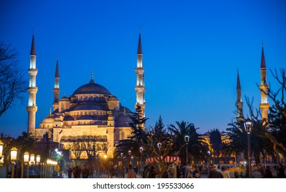 View of Blue mosque from Hagia Sophia in Istanbul at sunset, Turkey