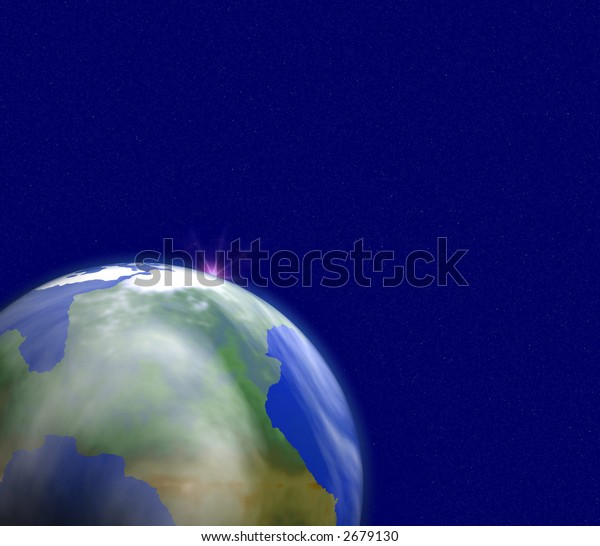 "View of a ""blue planet"" against blue starry background"