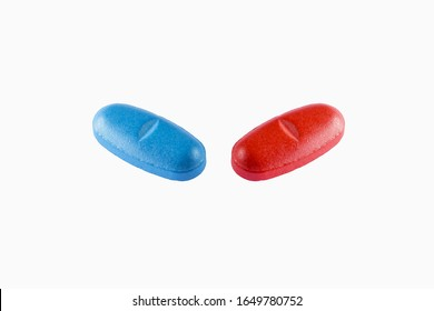 View of a blue and red Pills on White background