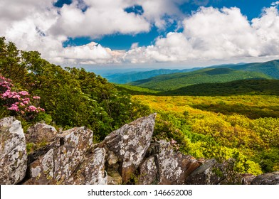 View of the Blue Ridge from cliffs on Stony Man  Mountain in Shenandoah National Park, VA.