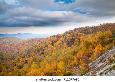 View from the Blue Ridge parkway in North Carolina in the fall when the hardwood trees are at peak color