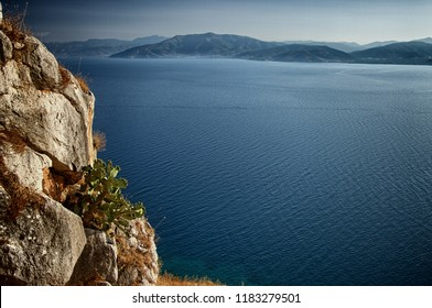 view blue sea of Argolic gulf and rock with prickly pear, Greece