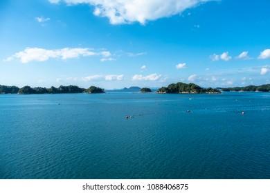 View of blue sea and oyster farm in Kujuku island (99 islands) ,Sasebo, Nagasaki, Japan.