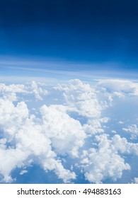 View of blue sky background with white cloud on high level