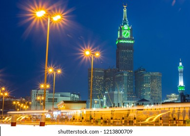 View blue sky clock tower,April- 2018  Makkah Saudi ARABIA,