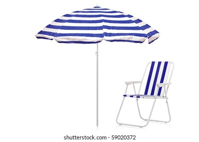 A view of a blue and white striped umbrella and beach chair isolated on white background