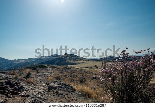 View from a bluff in Wildwood Park in Thousand Oaks California, hiking trail in chaparral, outdoors park.