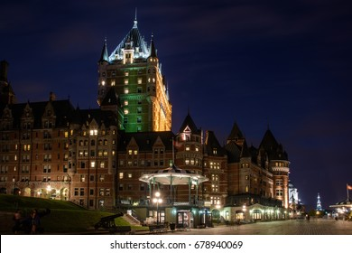 A view of boardwalk of Terrasse Dufferin during the night. Quebec City - Canada