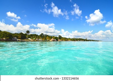 View from boat of Bacalar coast in Quintana Roo, Mexico