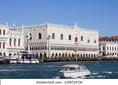 View from the boat of the Basilica of Piazza San Marco Campanile (Campanile di San Marco) - Basilica of Saint Mark and the bell tower of St Mark's  in Venice, Italy | Photo