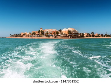 view from the boat to el gouna Egypt