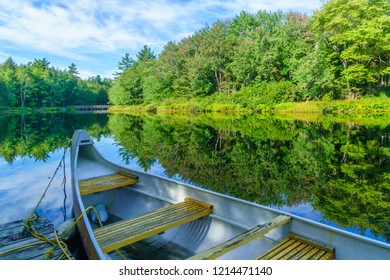 View of a boat and the Mersey river, in Kejimkujik National Park, Nova Scotia, Canada