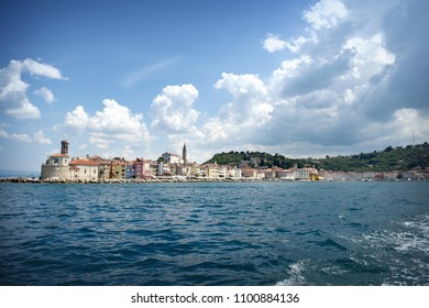 View from the boat on the old town Piran, Slovenia
