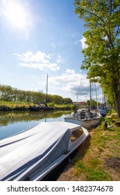 View of boats along canal seen from Edam Netherlands