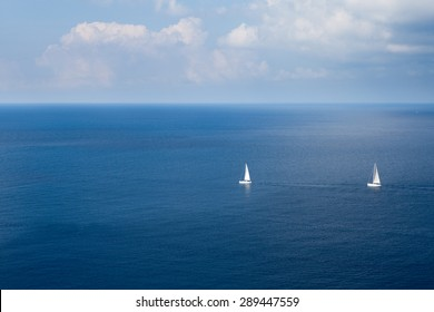 View to boats in the bay of Monte Argentario, an island at the Tuscany coast, Italy