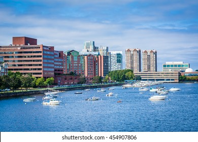 View of the boats in the Charles River buildings in Cambridge from the Longfellow Bridge, in Boston, Massachusetts.
