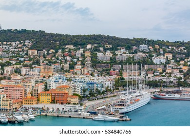 View of boats and coastline in Nice port on the Mediterranean Sea, Cote d'Azur, France