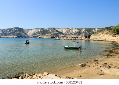 view with boats near Lopar on the island Rab, Croatia
