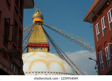View of Bodhnath stupa, one from the best buddhist stupas on the world, the biggest stupa in Kathmandu city, Nepal