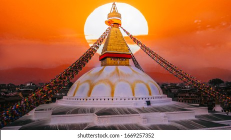 View of Bodhnath stupa, one from the best buddhist stupas on the world, the biggest stupa in Kathmandu city, evening sunset view, Nepal buddhism
