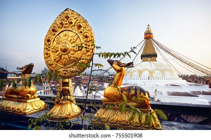 View of Bodnath Buddhist Stupa and Golden deers with leaf at the roof of monastery in Kathmandu
