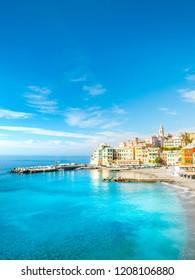 View of Bogliasco. Bogliasco is a ancient fishing village in Italy, Genoa, Liguria. Mediterranean Sea, sandy beach and architecture of Bogliasco town. Liguria, Italy