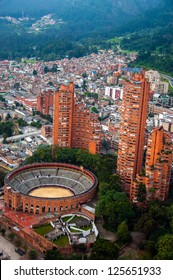 A view of Bogota, Colombia including the Santamaria bullring.