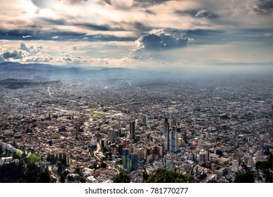 View of Bogota on a cloudy sunset from Monserrate